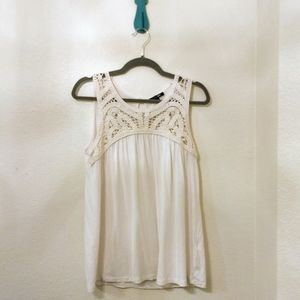 White tank top with crochet details